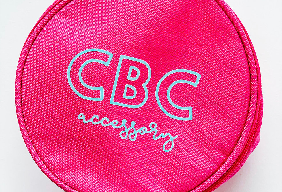 PINK + MINT CIRCLE ZIP JEWELRY/MAKEUP CASE