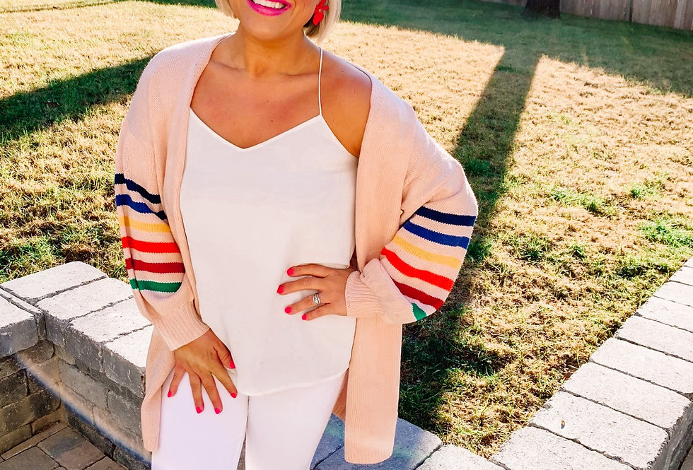 DREAMING IN COLOR- light pink + multi colored cardigan