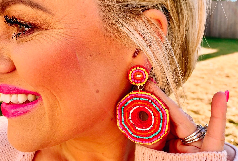 AROUND THE CLOCK- multi-color beaded earrings