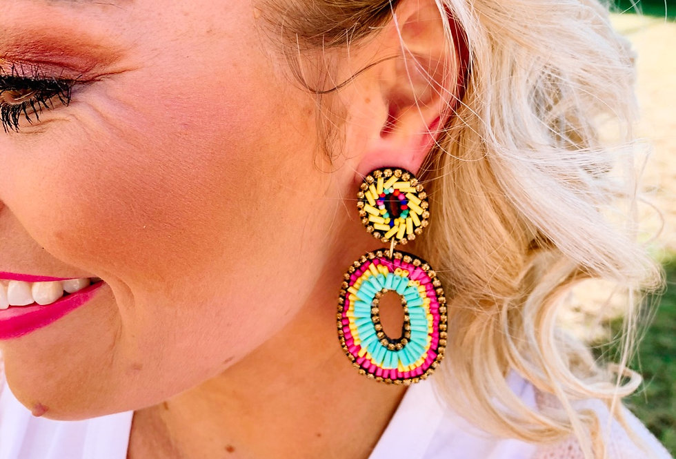ON-BRAND- multi color-beaded oval