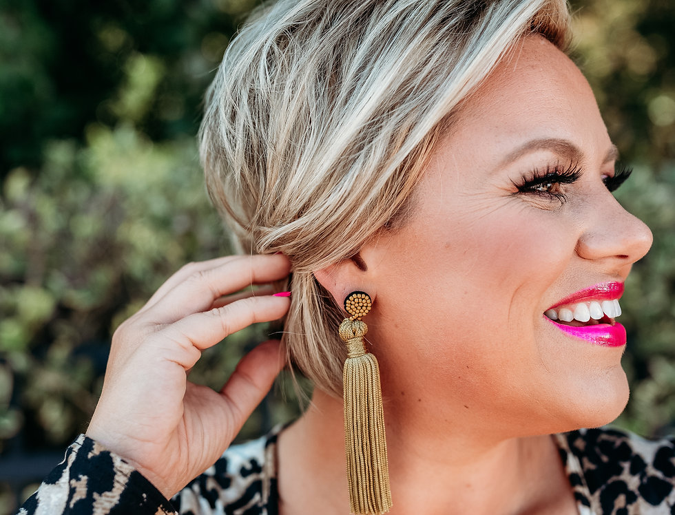 HANG IN THERE- light-mustard gold tassel earrings