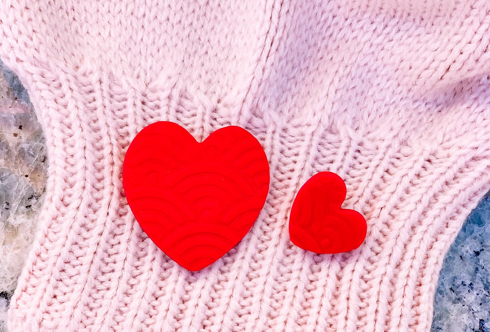 RED HEART EARRINGS- two sizes- handmade!