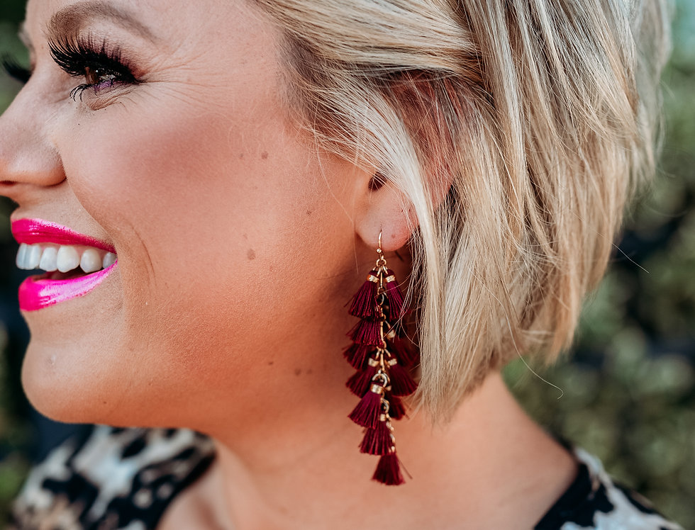 FALLING FOR YOU - burgundy tassel drop earrings