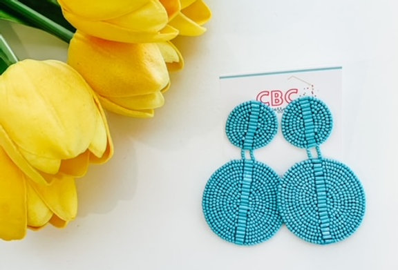 AFTER 3 DAYS- blue beaded earrings