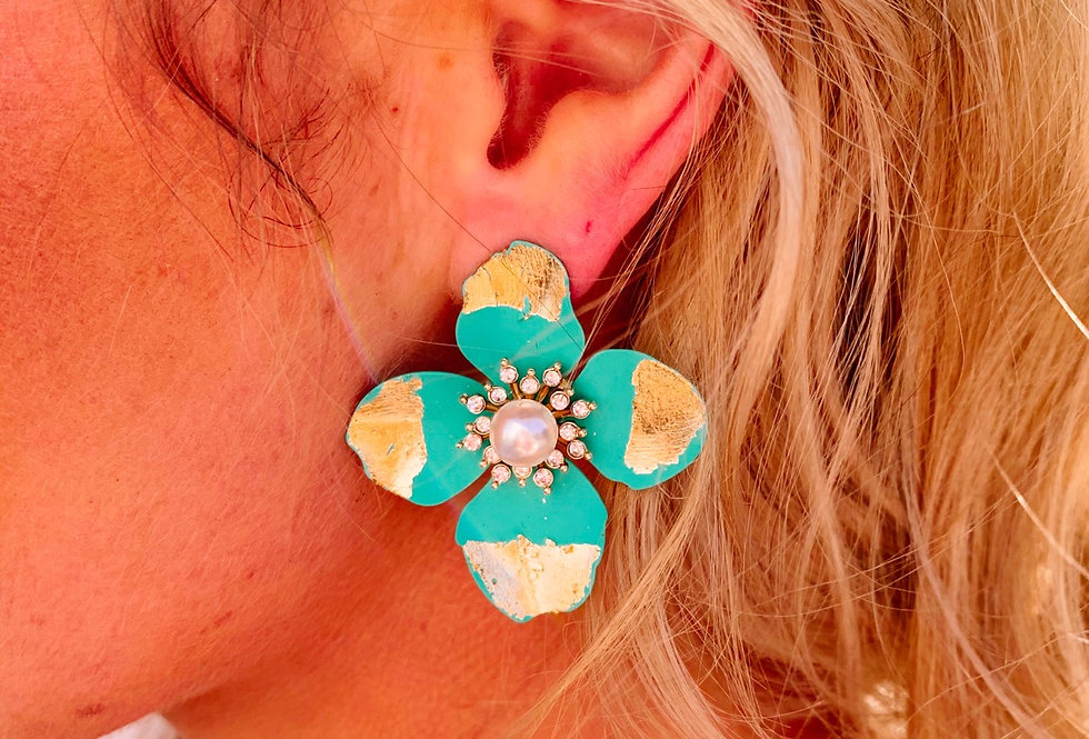 YOU'RE SO PEARLY- teal flower pearl earrings