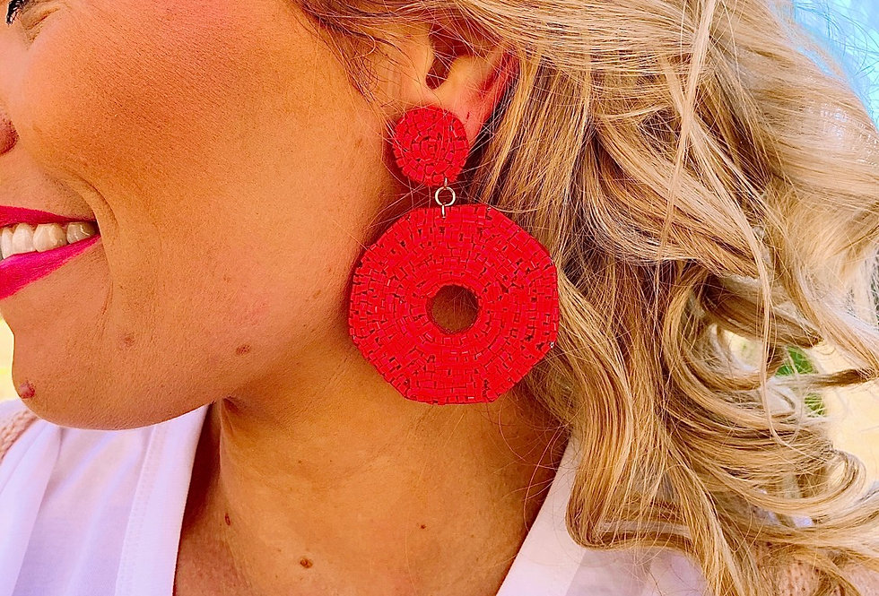 AROUND THE CLOCK- red beaded earrings