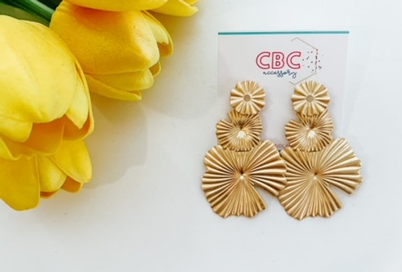 ORCHID DROP - gold triple orchid earrings