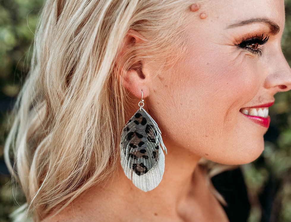 LIGHT AS A FEATHER - silver+ gray leopard feather earrings