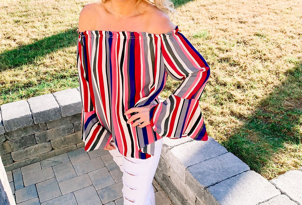 BETWEEN THE LINES- striped off-shoulder blouse