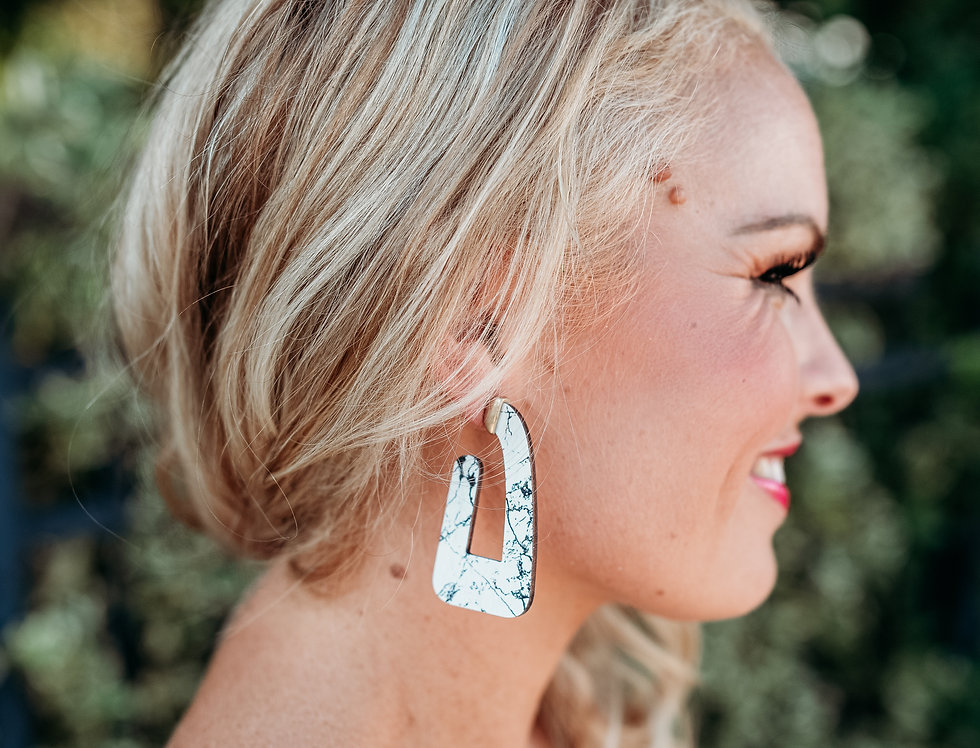 MAD ABOUT MARBLE- geometric marble + wood earring