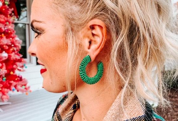 SPRINKLED IN GREEN - beaded hoops