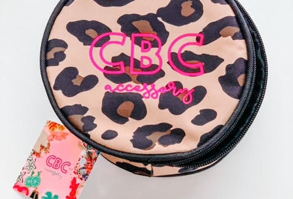 LEOPARD + HOT PINK JEWELRY/MAKEUP CASE