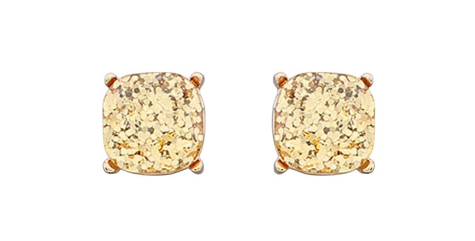 SPARKLE + SHINE- oversized glitter studs- gold
