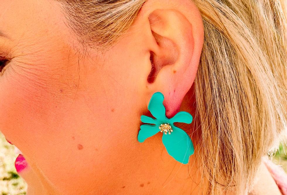 MY TOP PICK-  teal metal flower earrings