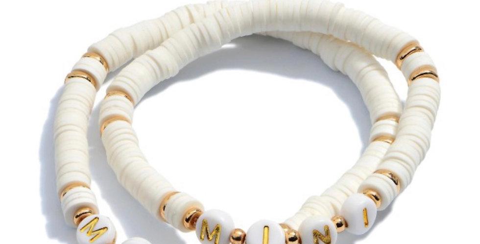 MAMA + MINI- letter bracelets white