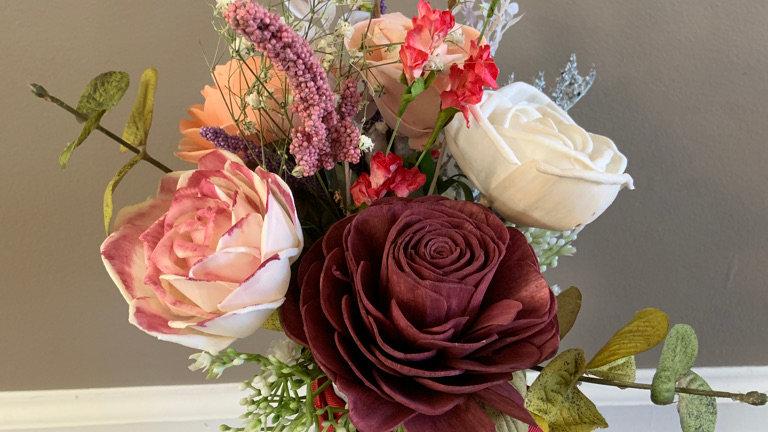 Wood Roses in Plastic Vase