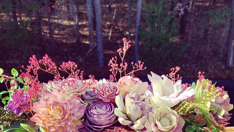 Purple Succulents Centerpiece