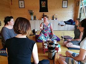 Rachael teaching Meditation in Northampton