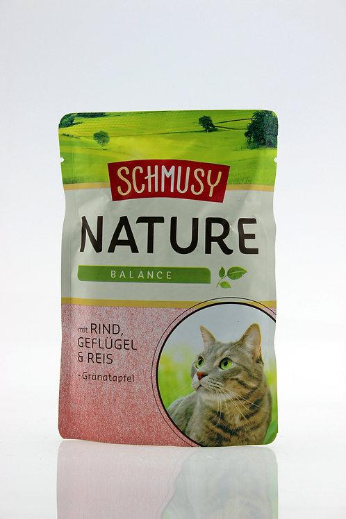 Schmusy Nature - mit Rind, Geflügel & Reis 100g