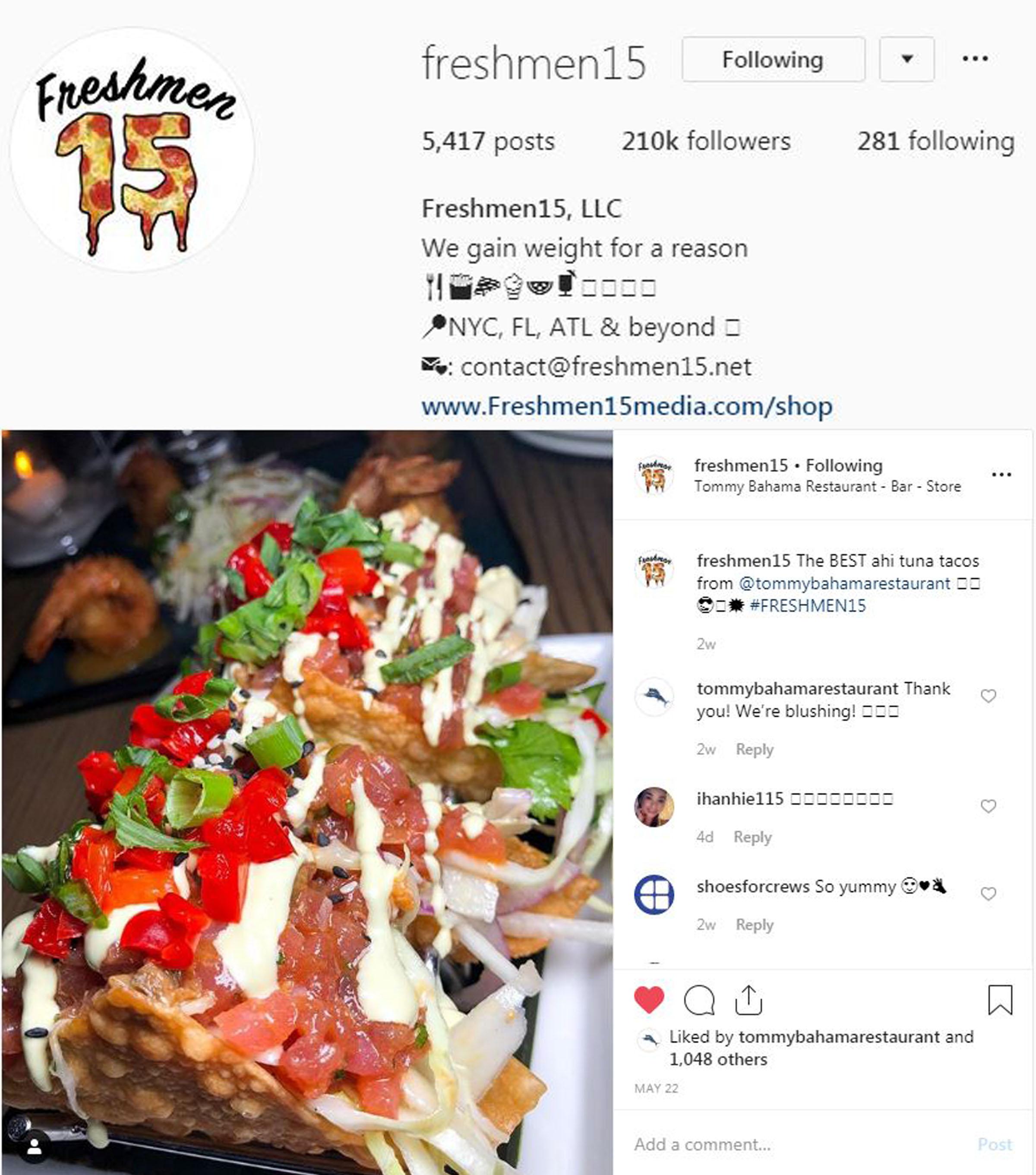 Freshmen15 Instagram - May 15 - TB NYC D