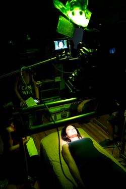 """Megan H on set of """"Stranded"""""""