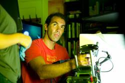 """Dennis Zanatta on set of """"Stranded"""""""