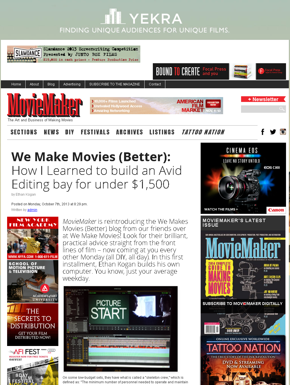 MovieMaker Mag - How I Built an Avid