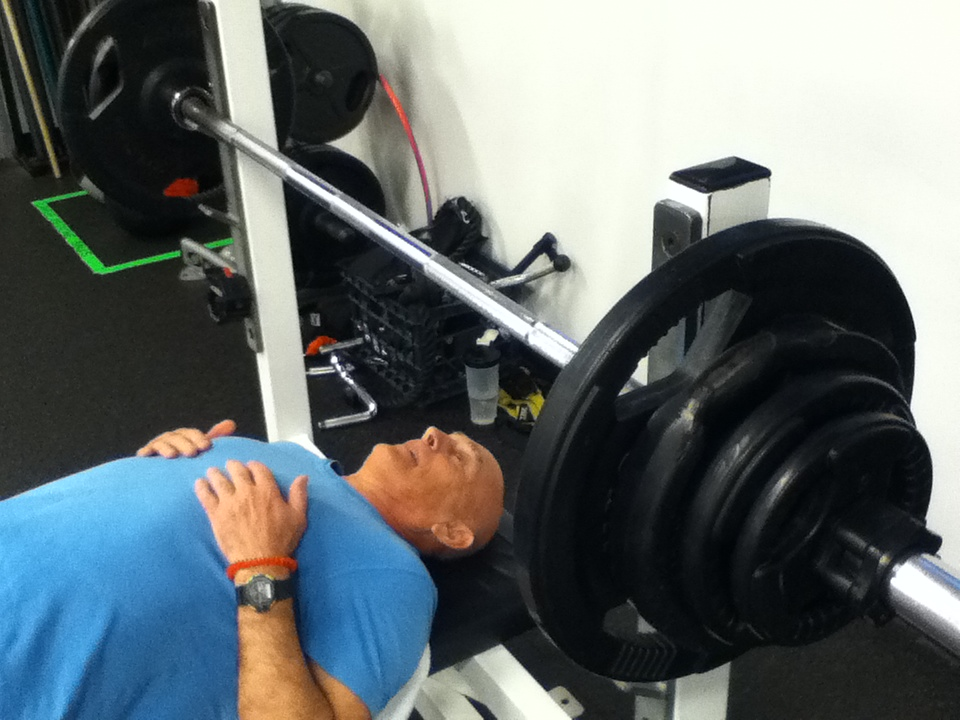 Tony (almost 70) benching 215 lbs