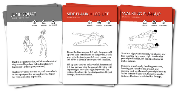 Workout cards by Karina Inkster