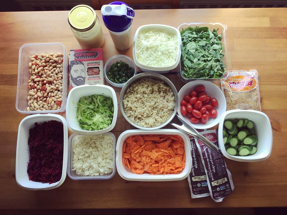 Buddha bowls food prep