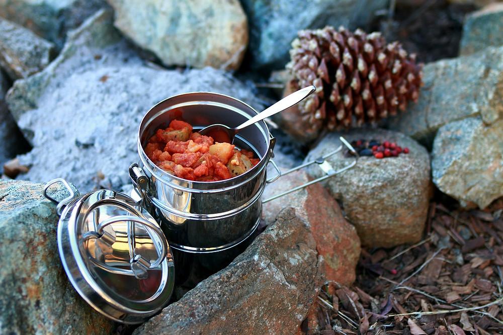 Vegan camping meal