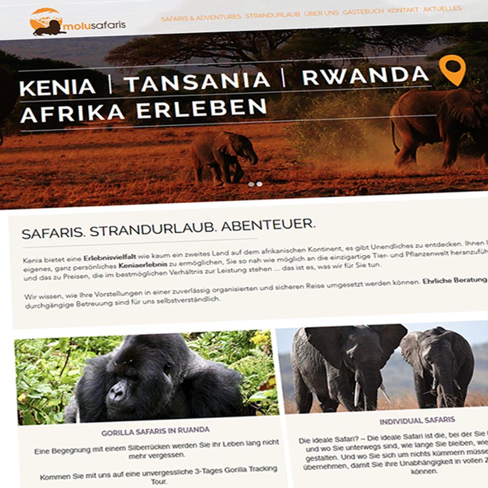 Molu Safaris Kenia - Screenshot neue Webseite