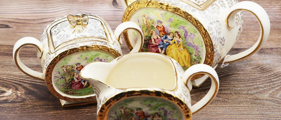 Saddler Tea pot, jug, sugar pot