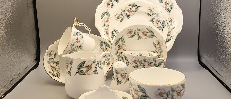 Crown Staffordshire  English Fine Bone China Magnolia Pattern (21 pieces)