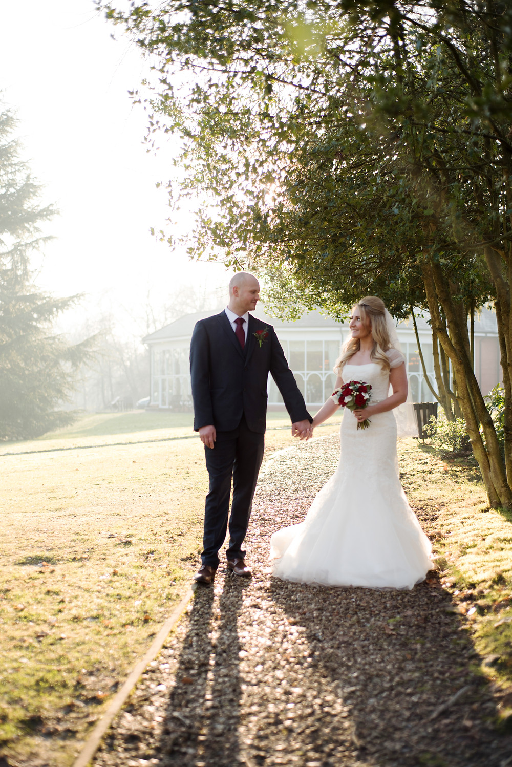 bride and groom at Macdonald Kilhey Court,Wigan