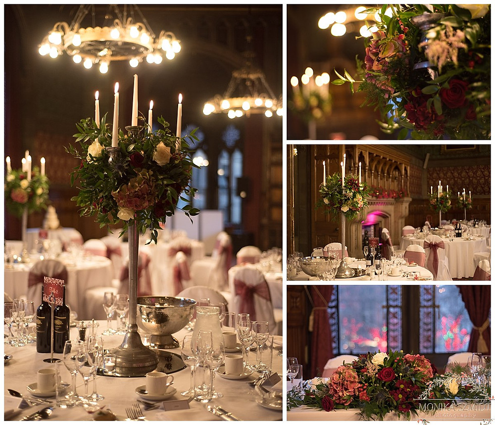 wedding table decoration at Manchester Town hall