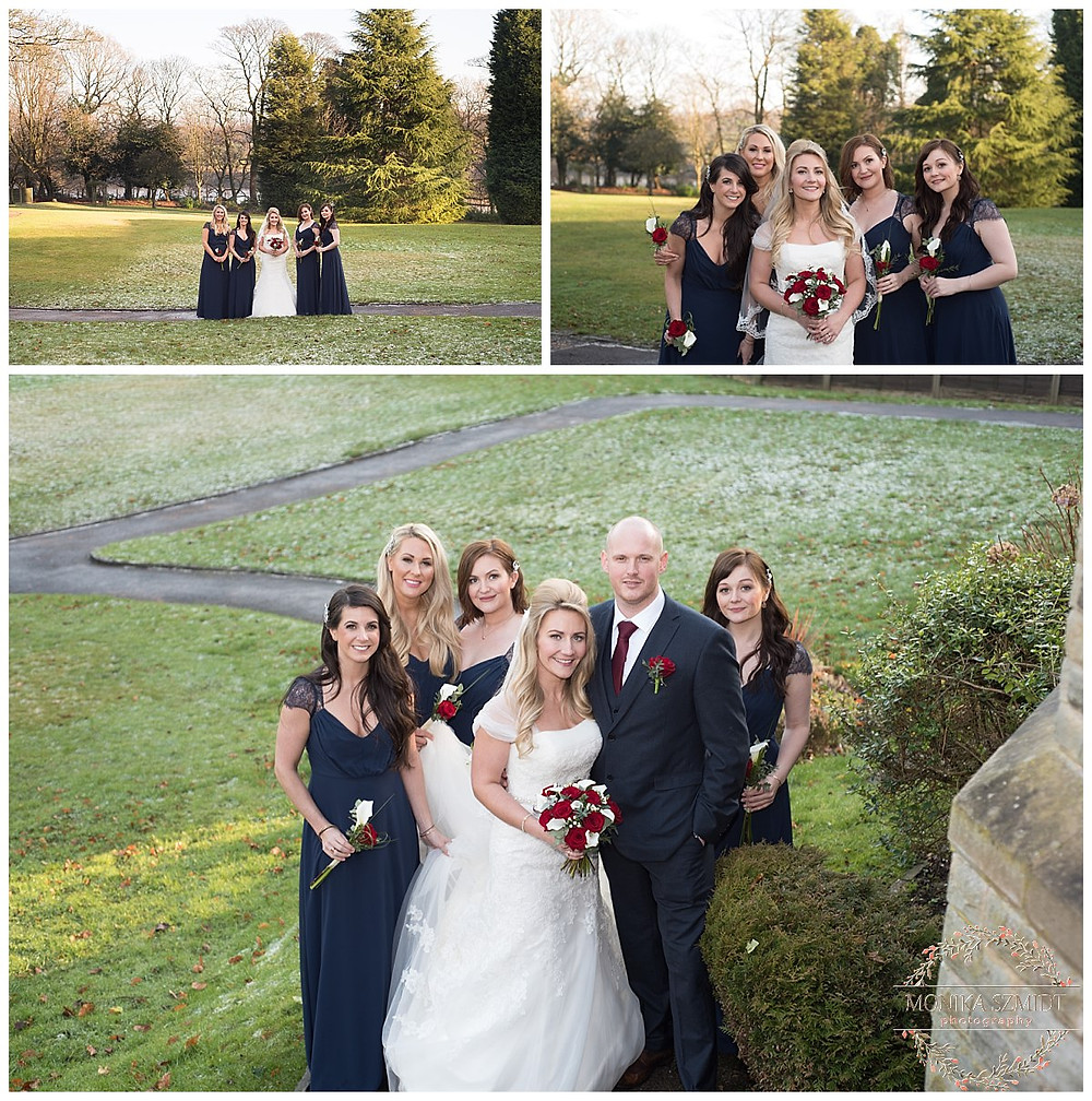 bride and bridesmaids at Macdonald Kilhey Court