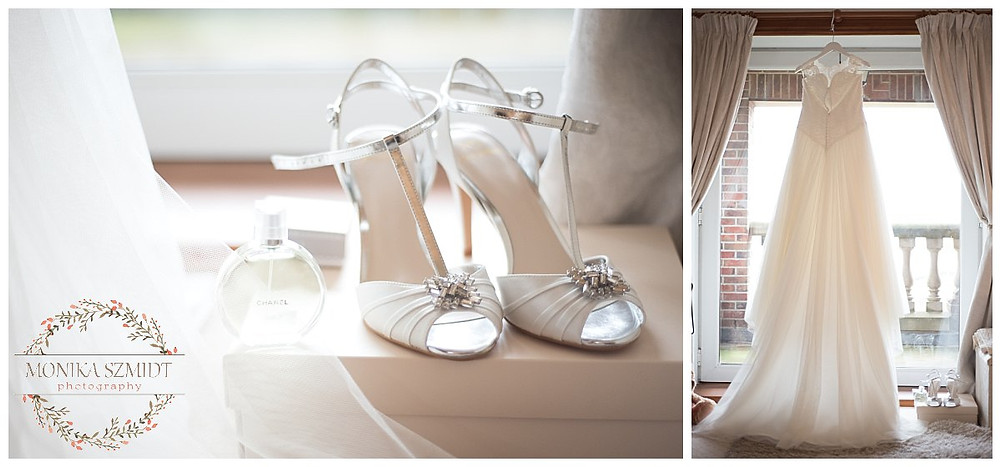 wedding photography bride getting ready, wedding shoes and wedding dress