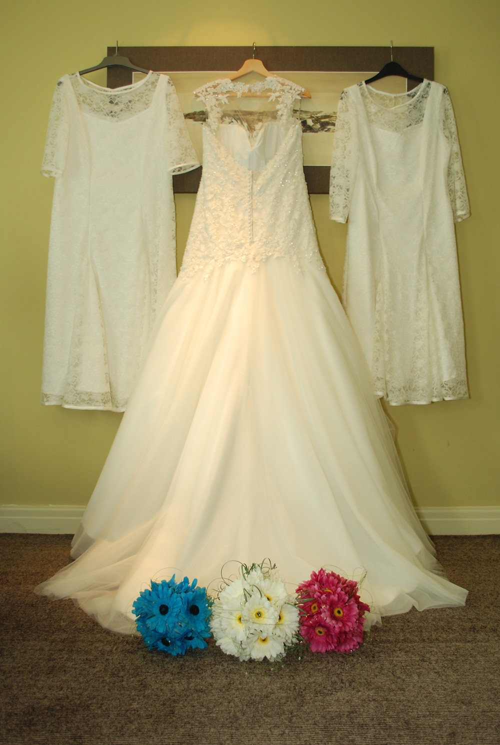 wedding dress, bridesmaids dress