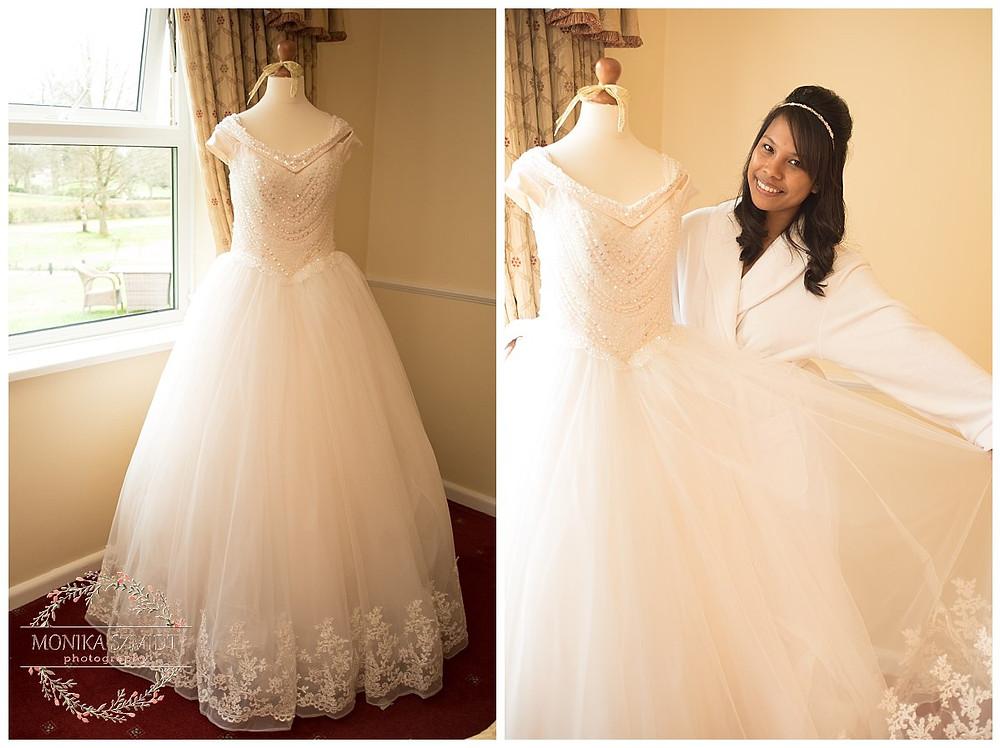 bride getting ready,wedding dress