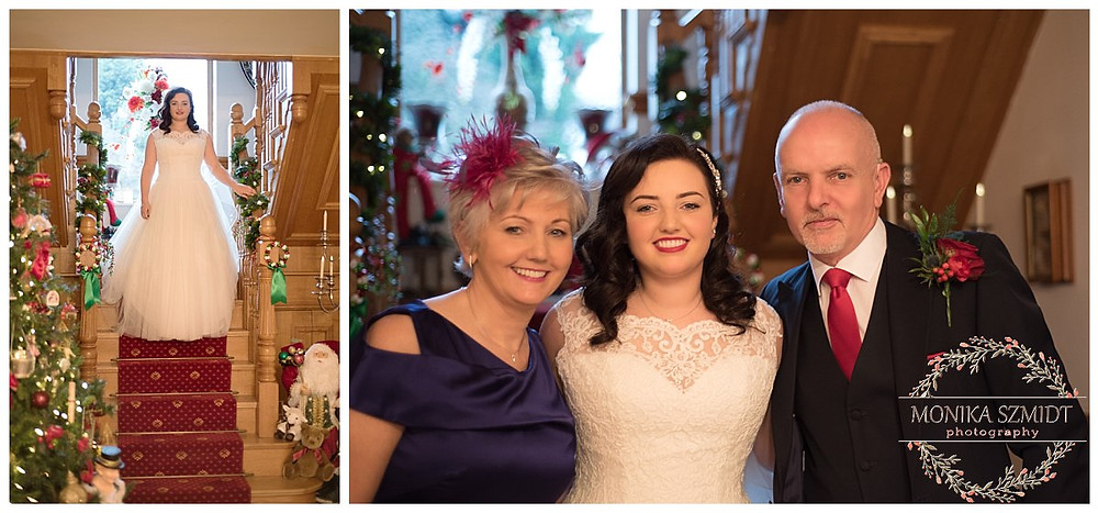 bride on the staircase and bride with parents