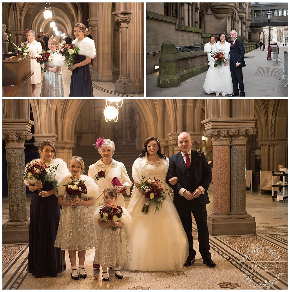 bride arrive to Manchester Town Hall