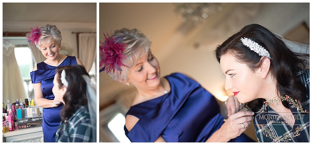 wedding photography, bride and mother getting ready