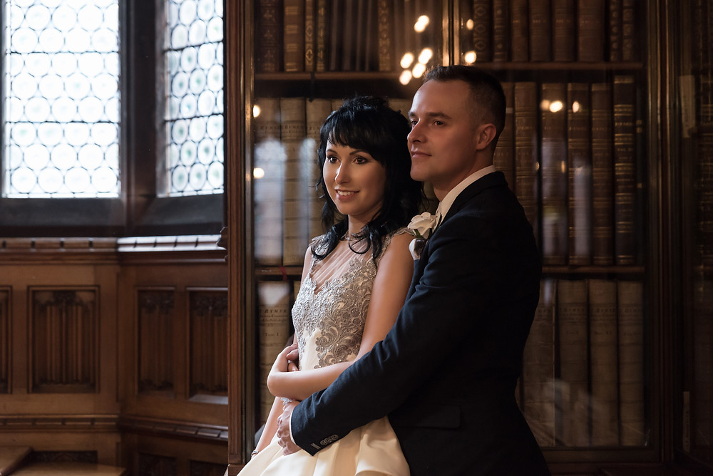 Engagement photos in Rylands Library in Manchester