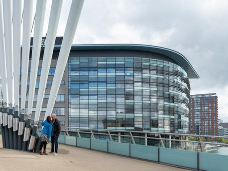Pre-wedding photo shoot in Salford Quays.