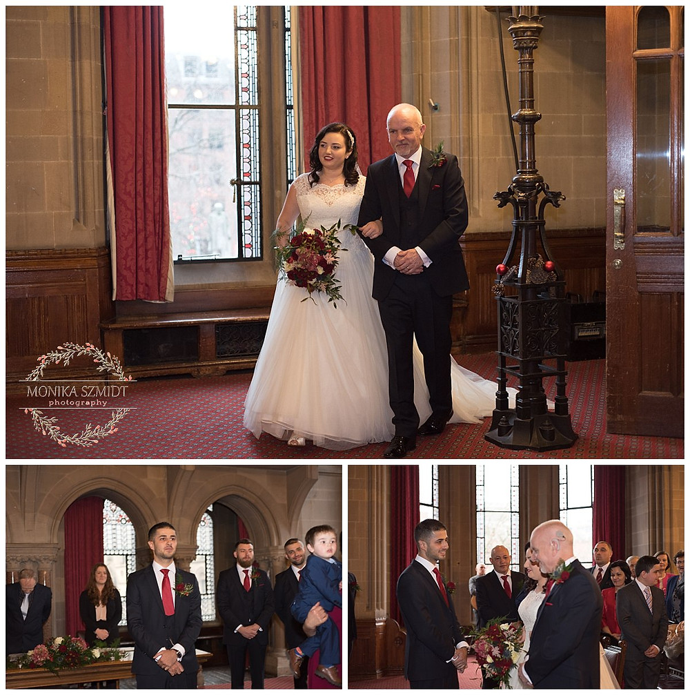 wedding vows at Manchester Town Hall
