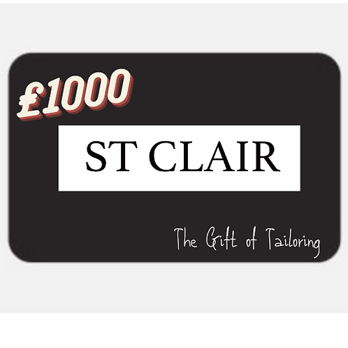 St Clair Suits Gift Card - £1000