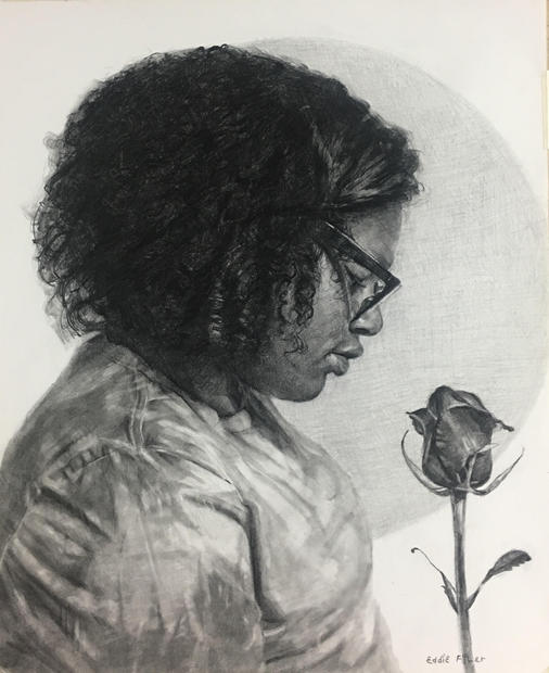 _A Beautiful Flower_, 14x17 graphite on