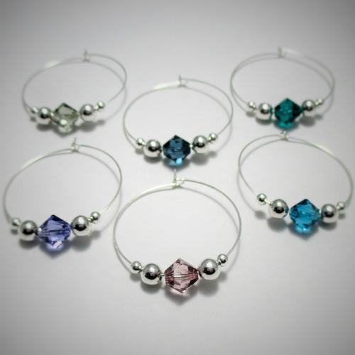 6 silver swarovski crystal wine charms in green blue indicolite purple rose