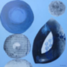 Acrylic painting, circles, balls, abstract, blue